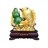 Productos de decoración Lucky Figurine Decoración para el hogar Carpa Feng Shui Wealth Arowana Lucky Fish Statue Home Office Decor y la mejor decoración de regalo adornos de mesa Ornamento de Escritor