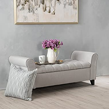 Christopher Knight Home 299379 Living Lamara Sky Grey Fabric Armed Storage Bench, Light