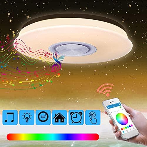 Nakeey Lámpara LED de techo con altavoz Bluetooth, regulable, cambio de color con mando a distancia y aplicación, 2800-6500 K, para dormitorio, habitación de los niños, salón [Clase energética A++]