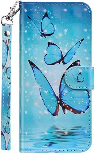Handyhülle kompatibel mit ZenFone Max M2 (ZB633KL) Hülle, Ysimee Bookstyle PU Leder Schutzhülle Wallet Flip Ledertasche Case Lederhülle [Standfunktion] [Kartenfach], Schmetterling