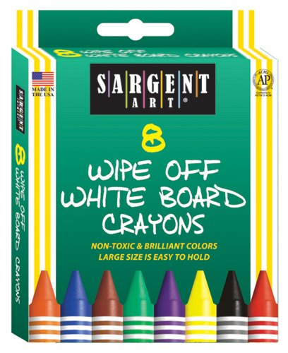 Sargent Art 35-0521 8-Count Regular Wipe-Off White Board Crayons, Peggable