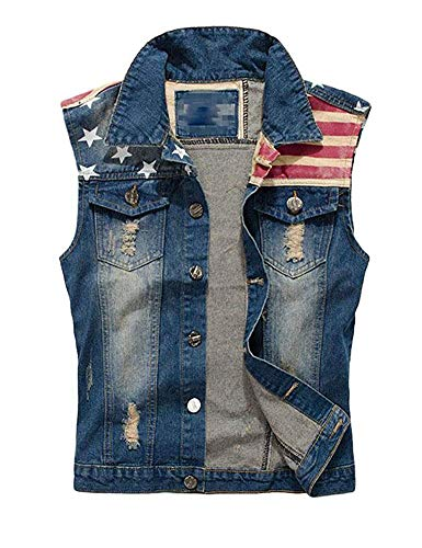 Idopy Men`s Retro Ripped Denim Jeans Vest Sleeveless Jacket (Medium, 086 USA Flag)