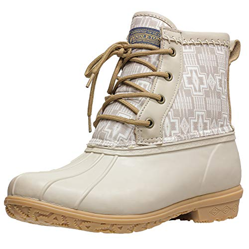 Pendleton Women's Heritage Pattern Slip-Resistant Lace-Up Short Duck Boot, Harding Print Taupe, Size 8