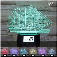 3DオプティカルイリュージョンランプナイトライトLEDボートムードライトベッドサイドテーブルランプタッチスイッチ色変更クリスマスフェスティ