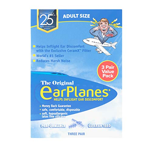 New Super Soft Adult EarPlanes® Ear Plugs Airplane Travel Ear Protection 3 Pair