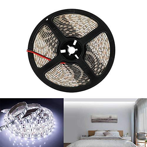 Arotelicht 5M 300 LEDs 5050SMD LED Leiste Strip Stripe Band Streifen Lichtleiste Lichterkette Lichter,12V 60LEDs/M (kaltweiß, Nur 5M Strip, IP65)
