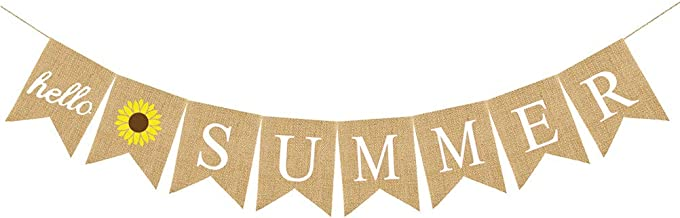Amosfun Tropical Party Decoration Banner Garland Hello Summer Letters Garland Hawaii Party Bunting Banner Sunflower Linen Dovetail Shape Party Decoration