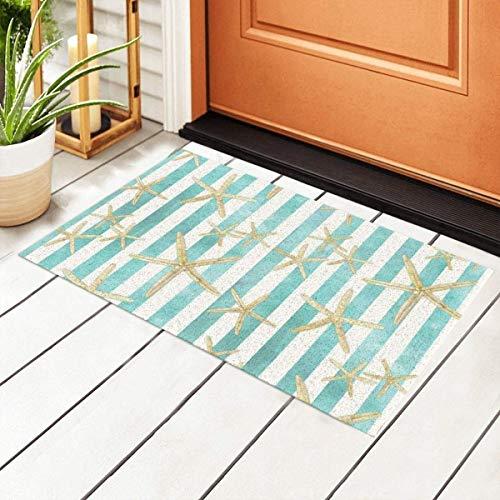 HCYHU Welcome Doormat with Non-Slip Waterproof Backing,White Finger Starfish Watercolor Stripe Pattern Indoor Entrance PVC Rug Pad Floor Mats for Outdoor Door Kitchen Bathroom 23.6'' x15.7''