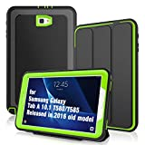 DUNNO Case for Samsung Galaxy Tab A 10.1 2016 SM-T580/T585(Not for 2019 Model), Heavy Duty Smart Case Cover with Auto Sleep/Wake Function Design for SM-T580/T585/T587(NO S Pen Version) (Black/Green)
