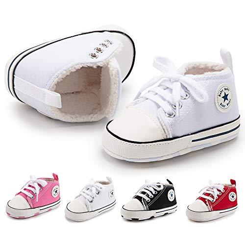BiBeGoi Baby-Sneaker für Jungen und Mädchen, aus Segeltuch, hohe Schnürung, Freizeitschuhe für Neugeborene, Krippenschuhe, Lauflernschuhe, Schwarz - A01 weiß mit Fleece - Größe: 12-18 Monate