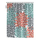 Shower Curtain for Bathroom, Dahlia Pinnata Flower Teal Coral Gray Decor 72x72inch Waterproof Polyester Fabric Shower Rings Included