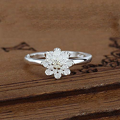 KHJH Damen Verstellbare Öffnung Ring,925 Silber Lotus Blumenringe Schmuck Romantische Hochzeitsgeschenk Dating Für Paar Mädchen Dame