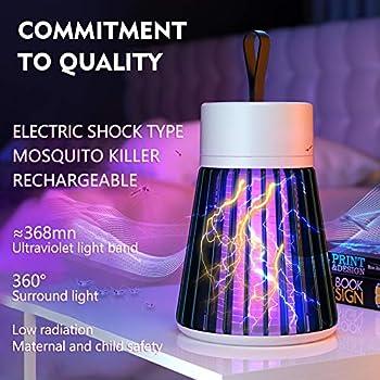 Lurowo Moustique Tueur Lampe, Electrique Lampe Anti Moustique Interieur Bug, Piège à Moustiques Portable USB Rechargeable avec 2200mAh Batterie pour Intérieur Extérieur (Vert)