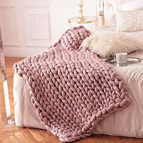 AZWE Stricküberwurfdecke, handgemachter großer klumpiger Cotton Arm Thick Cable Accent Decke weichen Acryl Haustier-Bett-Stuhl Mat Teppich Home Decor Geschenk für Couch Sofa, Blushpink, 80 * 80 cm