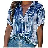 XOXSION Camiseta de verano para mujer, camiseta suelta, de manga corta, camisa informal con estampado gradiente, blusa a la moda, botones para adolescentes, niñas y mujeres, túnica azul XL