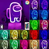 3D Among Us Led Lava Table Decor Lamps Illusion Night Lights with 16 Color Changing Remote Touch Control for Kids Friend Bedrooms Gifts