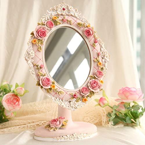 Espejo de jardín de Estilo Europeo Creativo Espejos de Escritorio Espejo de Princesa Espejo de baño Redondo Plegable Espejo de Belleza de Alta definición (Color: B)