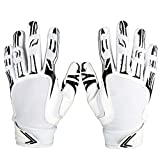 Pure Athlete Football Receiver Gloves – Elite-Stick Silicone Gripping Technology – Adult Sizes (White, Large)