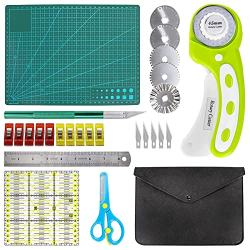 Finccida 45mm Rotary Cutter Set for Fabric Including Sewing Rotary Cutter 5 Extra Blades, A4 Cutting Mat, Quilting Ruler, Steel Ruler, Craft Knife, Scissors, Storage Bag, Sewing Clips for Crafting
