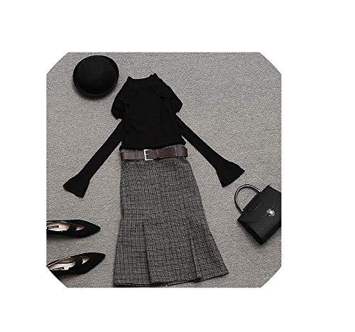 Vrouwen Half Coltrui Slim Knitwear Top en Plaid Mid Rok 2 Stuk Set Schouders Mesh Ruche Trui Sets