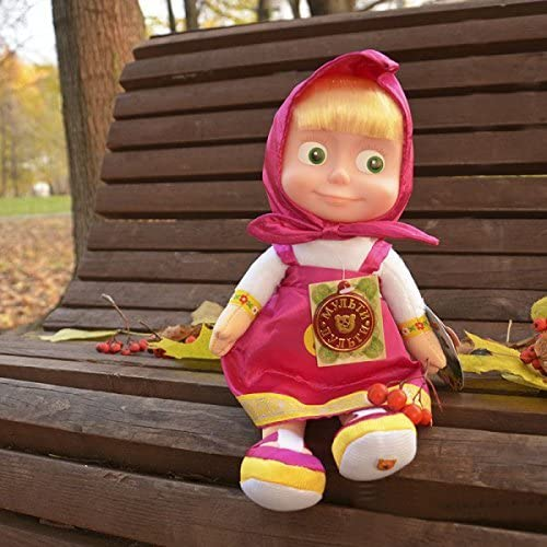 29  Russian Language Talking and Singing Toy Rosa Dress Doll Masha and the Bear, The Famous Cartoon, Musical Toy, hat Soft Gift, Girl, Birthday 11,4 ch by rustoyshop
