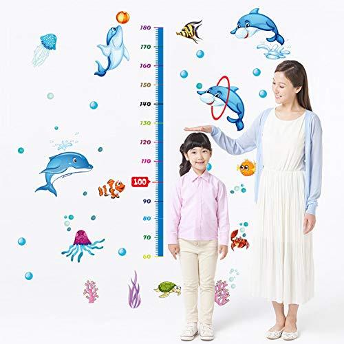 MMLFY Muursticker Dolfijn hoogte maat muurstickers voor kinderen slaapkamer decoratie aquarium octopus schildpad behang voor badkamer