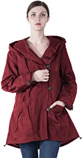 0acd102899e Infron IN FRONT Women Plus Size Elegant Hooded Single-Breasted Anorak Coat  Spring Fall