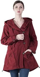 Women Plus Size Elegant Hooded Single-Breasted Anorak Coat
