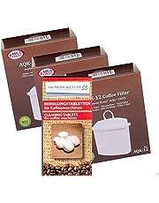 Human-Wellness AQK-12 - Juego de 3 cartuchos de filtro compatibles con Braun KWF2 AromaSelect AromaPassion Selekt Pure Aqua Brita + 10 varillas de limpieza