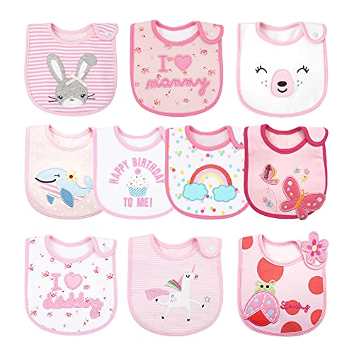 10 baberos impermeables para bebés y niñas, baberos, súper absorbentes, de algodón orgánico de 3 capas, con correas ajustables, color rosa, de 3 meses a 3 años