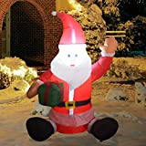 COMIN 4Foot High Christmas Inflatable Blow up Sitting Santa with a Gift Bag Yard Decoration, Indoor Outdoor Garden Holiday Inflatables Christmas Decorations.