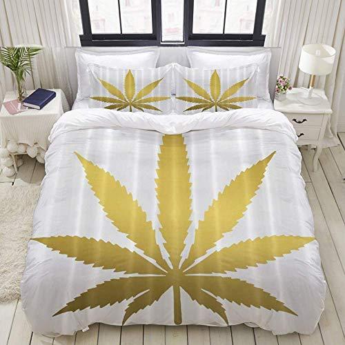 Funda nórdica, Hoja de Hierba de Marihuana Dorada Blanca, Juego de Cama Juegos de Microfibra de Lujo Ultra cómodos y livianos