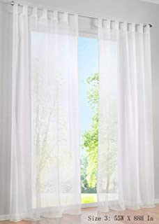 ZebraSmile 1 Panel Tab Top Voile Curtains for Living Room Sheer Curtains Window Sheer Window Drapes for Living Bedroom Sheer Drapes for Wedding Sheer Curtains for Bedroom Girls White 89(H) X55(W) in
