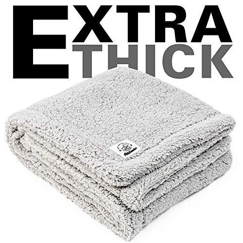 ALLISANDRO Flauschige Hundedecke 80x60cm Grau Hellgrau Katzen Decke mit super Soft weiche zweiseitige Flauschige Haustier-Decke, Überwurf für Hundebett Sofa und Couch