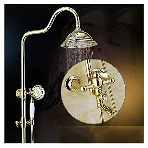 DNAN Sistema de Grifo de Ducha del Grifo de baño Retro Todas la Columna de baño de Cobre con Ducha de Mano