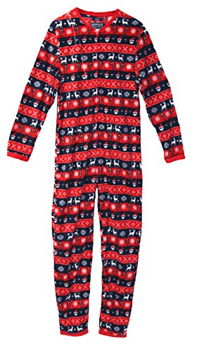 American Rag Holiday Themed Adult One Piece Fleece Pajamas (S, Stripes)