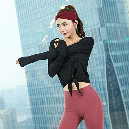 RRUI Medias para Mujer Medias de Mujer Top Yoga Fitness Ropa Mujer Ropa de Doble Cara Pace Sports New Running Camiseta de Manga Larga Seca Arco Femenino Negro XL