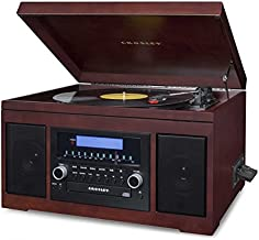 Crosley CR2415A-MA Cannon Turntable with Radio, CD Player, Cassette and Aux-In, Mahogany