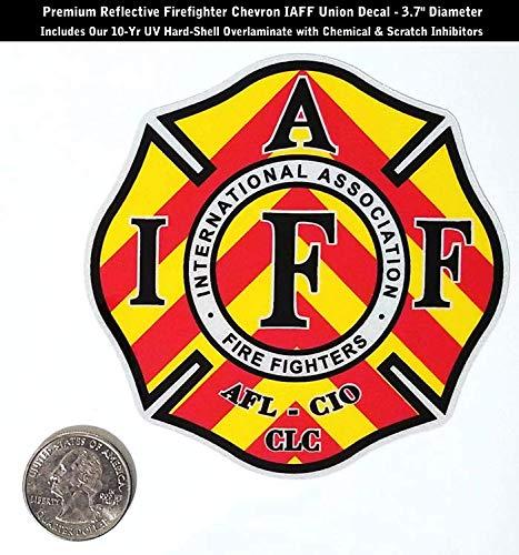 High Performance Vinyl Graphics LLC Reflective IAFF Firefighter Chevron Decal Sticker Yellow Red Blk Wht Laminated 0369