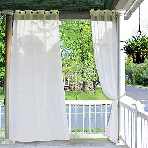 RYB HOME Outdoor Curtains Christmas - 2 Panels Waterproof Curtain Sheer Privacy Linen Look Voile Drapes for Porch Pavilion Garden Lawn Corridor Sun Room Decor, 2 Tiebacks Includes, 54 x 108 inch Long