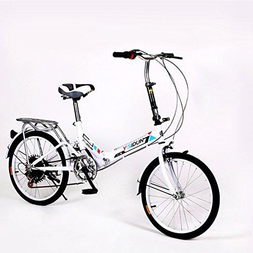 YEARLY Bicicletta pieghevole donna, Adulti bici pieghevole Ladies biciclette 6 velocità Shimano Uomini e donne Stile Auto studente Bicicletta pieghevole-bianca 20inch