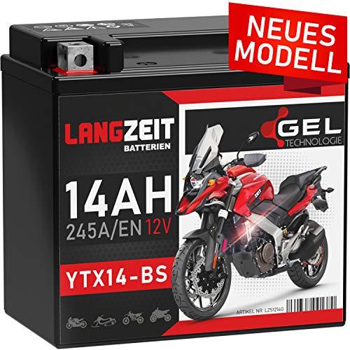 LANGZEIT YTX14-BS GEL Motorradbatterie 12V 14Ah 245A/EN GEL Batterie 12V doppelte Lebensdauer entspricht 51214 YTX14-4 CTX14-BS GTX14-BS vorgeladen auslaufsicher wartungsfrei