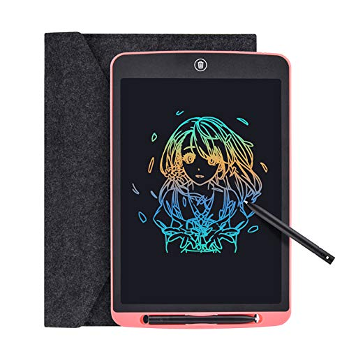 Tyhbelle LCD Writing Tablet, 12 Inch Colorful Digital ewriter Electronic Graphics Tablet Memory Lock Portable Writing Board Handwriting Pad Drawing Tablet for Kids Home School Office (Pink - 12 inch)
