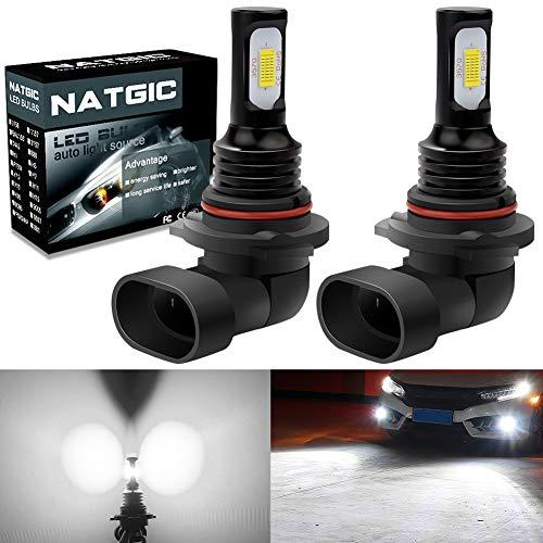 NATGIC 9006 HB4 LED Bombillas Antiniebla 75W Chips Integradas 3570 CSP 6500K Xenón Blanco y 2400LM para Bombillas Antiniebla Luz de Conducción Diurna Lámpara de Conducción DRL (Paquete de 2)