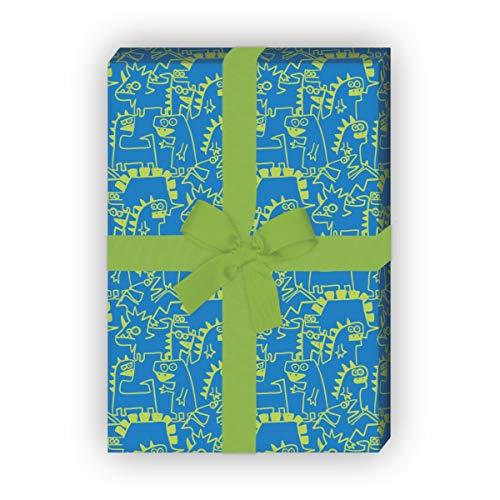 4 vellen Monster cool cadeaupapier met Doodle Dino Monsters voor een leuke geschenkverpakking 32 x 48 cm, 4 vellen voor het inpakken van verjaardagen, kinderen, tieners blauw