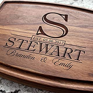 Classic Monogram Wedding Personalized Cutting Board - Engraved Custom Cutting Board, Wedding, Housewarming, Anniversary, Engagement, Closing Gift W-015 GB