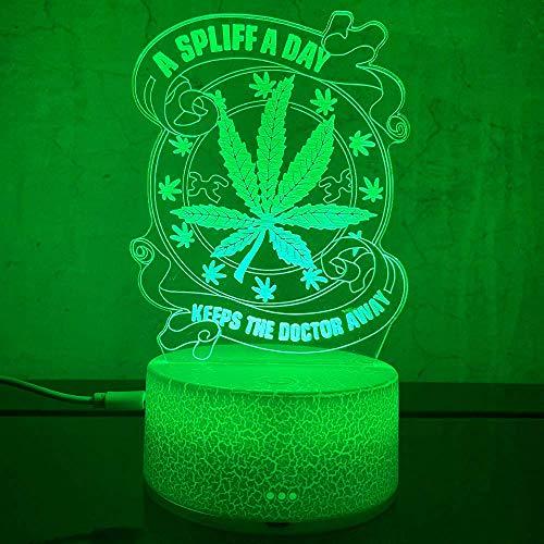 Lámpara de ilusión 3D, luz de noche de hoja de maceta de cannabis de marihuana con decoración de vestuario de 16 colores
