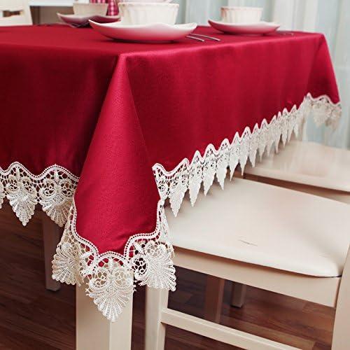 Jhxena Table De Style Européen Arts Tissu Dentelle Imperméable De Couleur Solide Couvercle Rectangulaire Table en Tissu, Rouge 145  240Cm