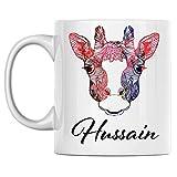 N\A azza Personale Giraffa Nome Hussain Tazza da caffè in Ceramica Bianca Stampata su Entrambi i Lati Perfetta per Il Compleanno per Lui, lei, Ragazzo, Ragazza, Marito, Moglie, Uomini e Donne