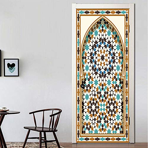 Deursticker 3D-behang van de oude houten deur deurbehang muurschildering zelfklevend pvc fotobehang waterdicht deurposter deursticker afneembaar behang voor deurpaneel slaapkamer keuken badkamer deur decoratie 88x200cm